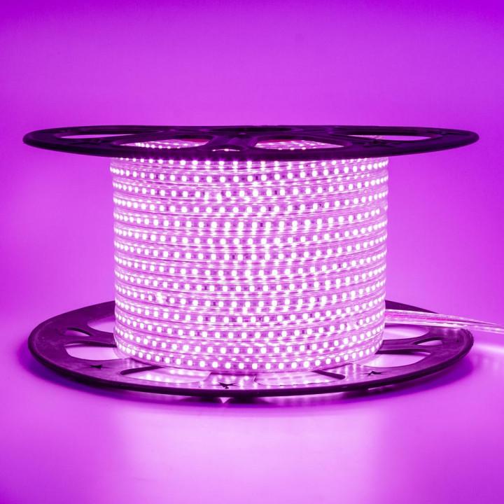 Стрічка світлодіодна #10-P AVT 2835P120, РОЖЕВИЙ 6W/m, 5mm, 220V, IP65, St-10  1017823