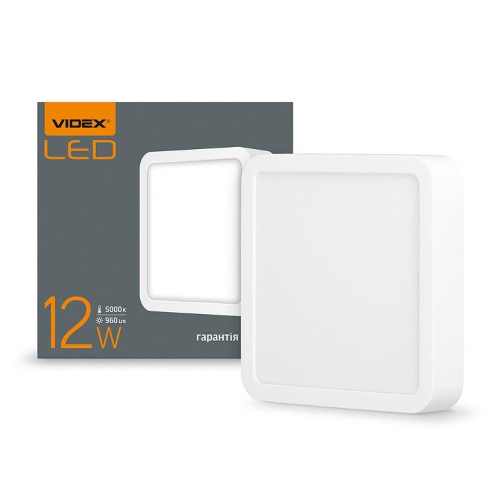 Світильник світлодіодний накладний VIDEX 12W  5000K квадрат 220V VL-DLSS-125 (294094)