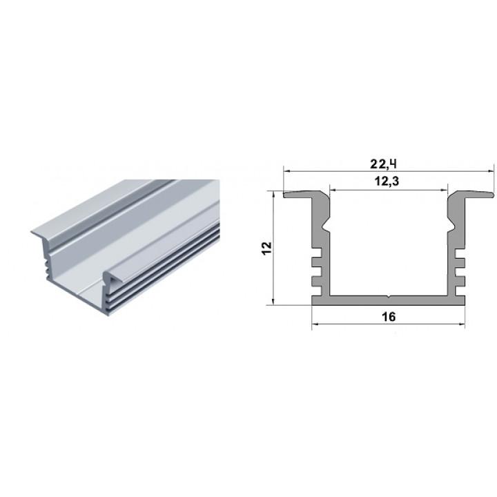Профіль алюмінієвий прямий врізний ЛПВ12W білий, 2м