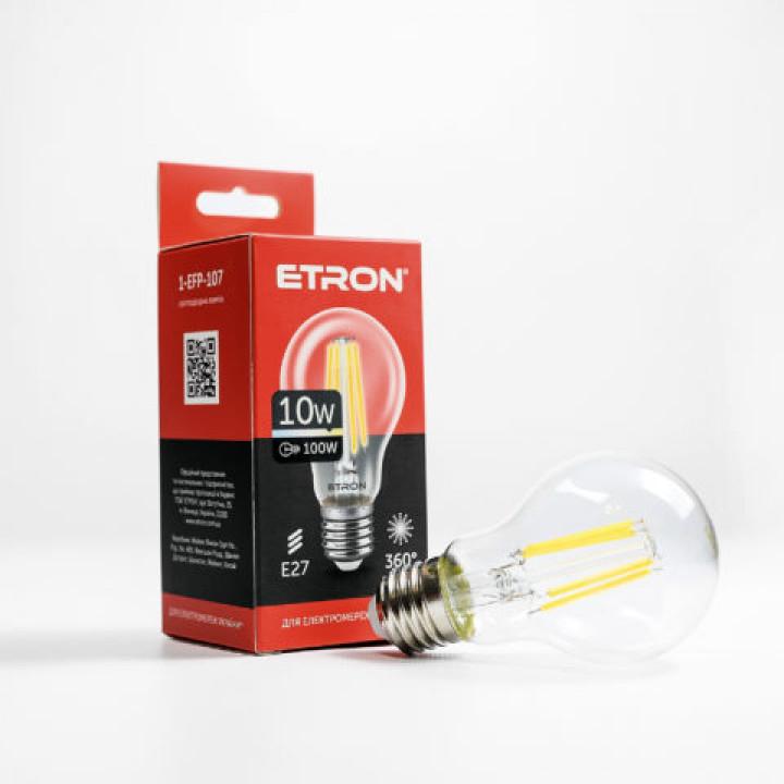 Лампа світлодіодна Etron Filament Power 1-EFP-107 A60 10W 3000K E27 ПРОЗОРЕ СКЛО