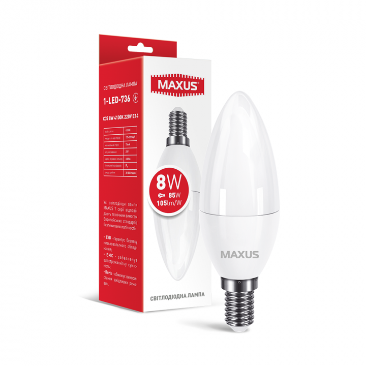 Лампа світлодіодна Maxus C37  8W 4100K 220V E14