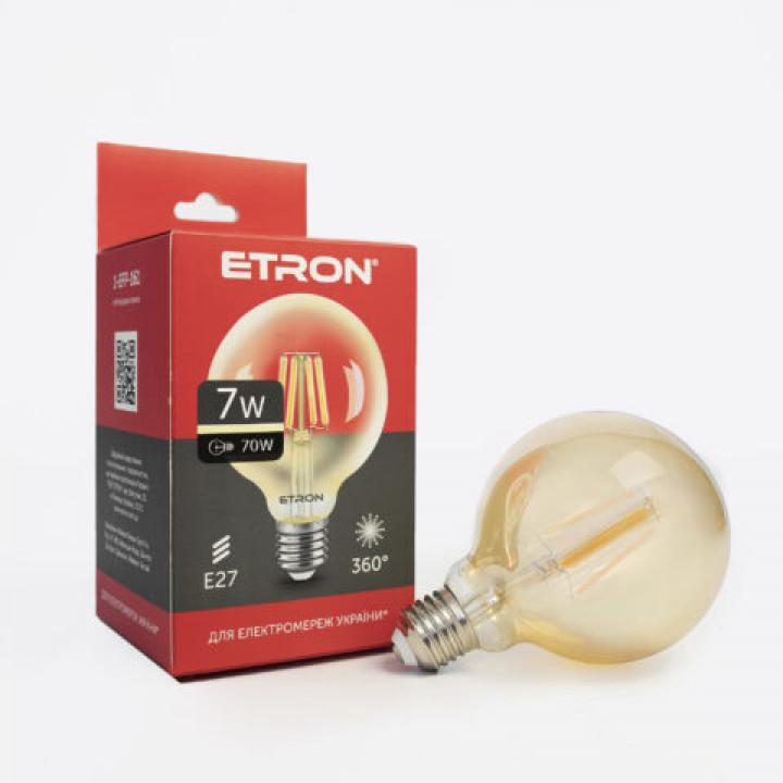 Лампа світлодіодна Etron 161-EFP Filament G95 7W 3000K E27 ЗОЛОТО