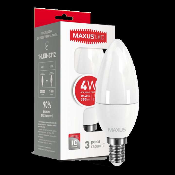 Лампа світлодіодна Maxus C37 CL-F 4W 4100K 220V E14 1-LED-5312
