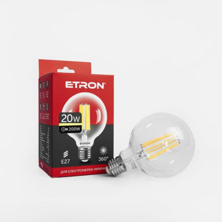 Лампа світлодіодна Etron, 1-EFP-171, Filament Power G95 E27 20W 3000K, clear glass