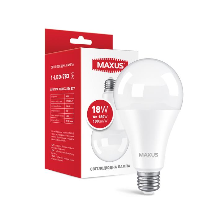 Лампа світлодіодна Maxus A80 18W 3000K 220V E27 1-LED-783