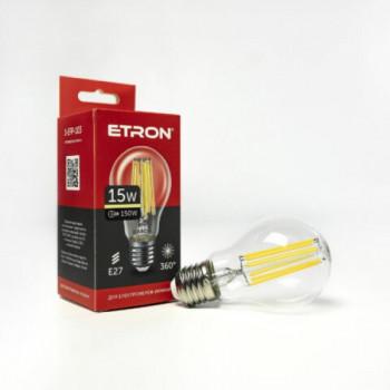 Лампа світлодіодна Etron Filament POWER 1-EFP-103 A60 15W 3000K E27 прозоре скло