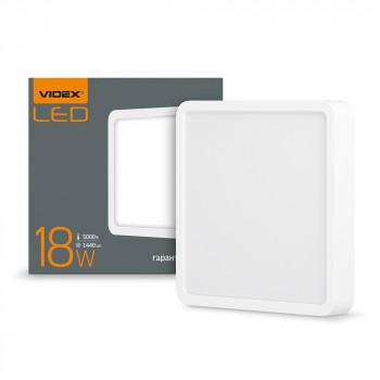 Світильник світлодіодний накладний Videx 18W квадрат 1440Lm 5000K