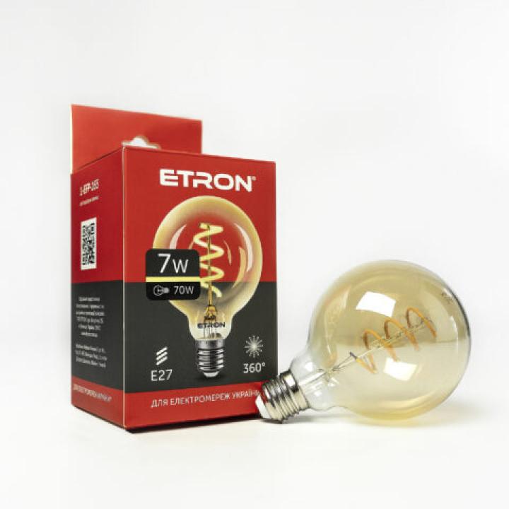 Лампа світлодіодна Etron 165-EFP Filament VINTAGE 7W G95 2700K E27 ПОЗОЛОЧЕНЕ СКЛО