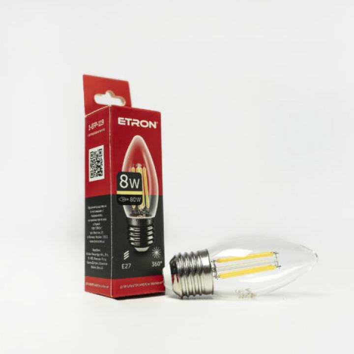 Лампа світлодіодна Etron 1-EFP-119 Filament Power C37 8W 3000K E27 ПРОЗОРЕ СКЛО