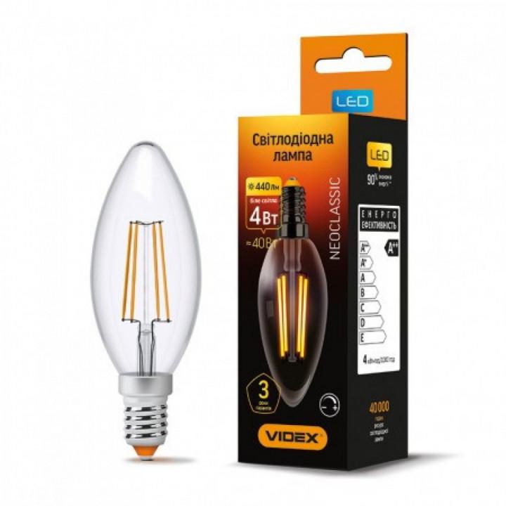 Лампа світлодіодна Videx C37FD 4W E14 4100K, дімована