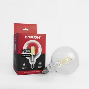 Лампа світлодіодна Etron, 1-EFP-174, Filament Power G125 E27 20W 4200K, clear glass