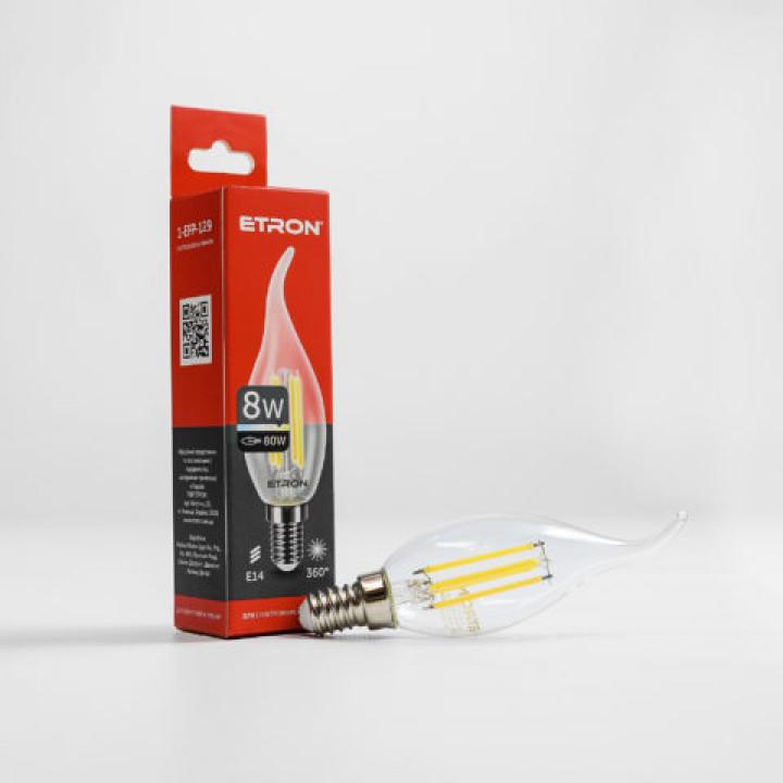 Лампа світлодіодна ETRON Filament Power 1-EFP-129, tailed, C37, 8W, E14, 3000K, прозоре скло
