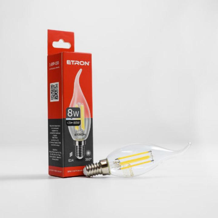Лампа світлодіодна ETRON Filament Power 1-EFP-130, tailed, C37, 8W, E14, 4200K, прозоре скло