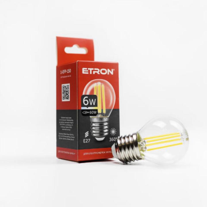 Лампа світлодіодна ETRON Filament Power 1-EFP-150, G45, 6W, E27, 4200K, прозоре скло