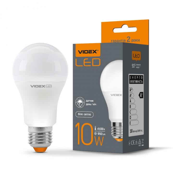 Лампа світлодіодна Videx з сенсор. освітл. A60 10W 4100K 220V E27