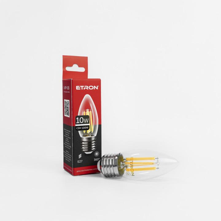 Лампа світлодіодна Etron 1-EFP-115, Filament Power C37 10W 3000K E27 ПРОЗОРЕ СКЛО