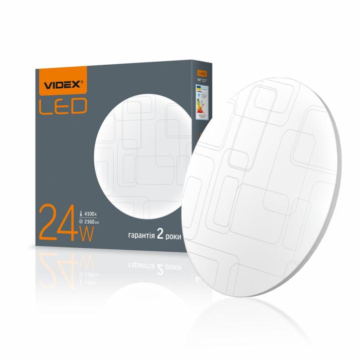 """Світильник світлодіодний Videx,настінно-стельовий,24W круг 2160Lm 4100K IP44,""""прямокутники"""" (298412)"""