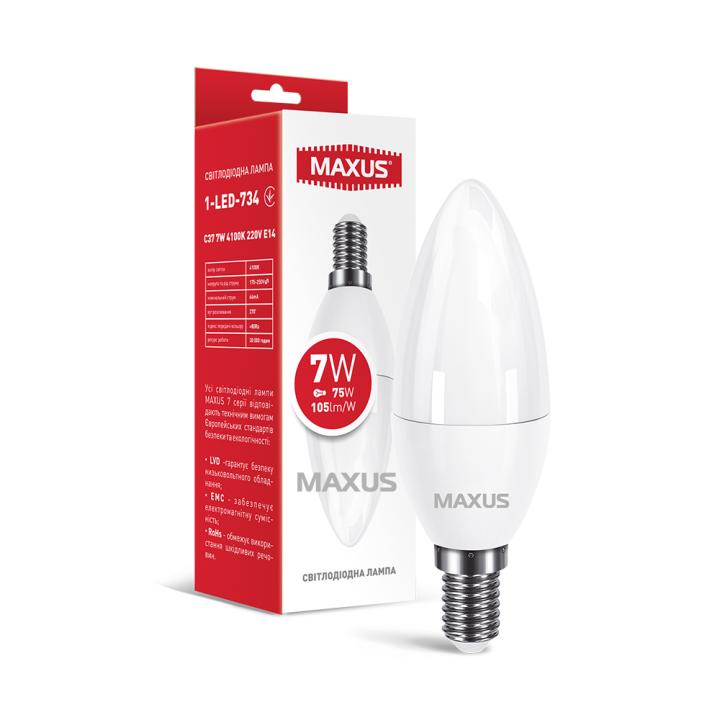Лампа світлодіодна Maxus C37  7W 4100K 220V E14   1-LED-734