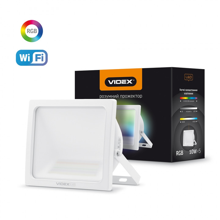 Прожектор світлодіодний VIDEX SMART 10W RGB 3000-6500K WHITE  298597