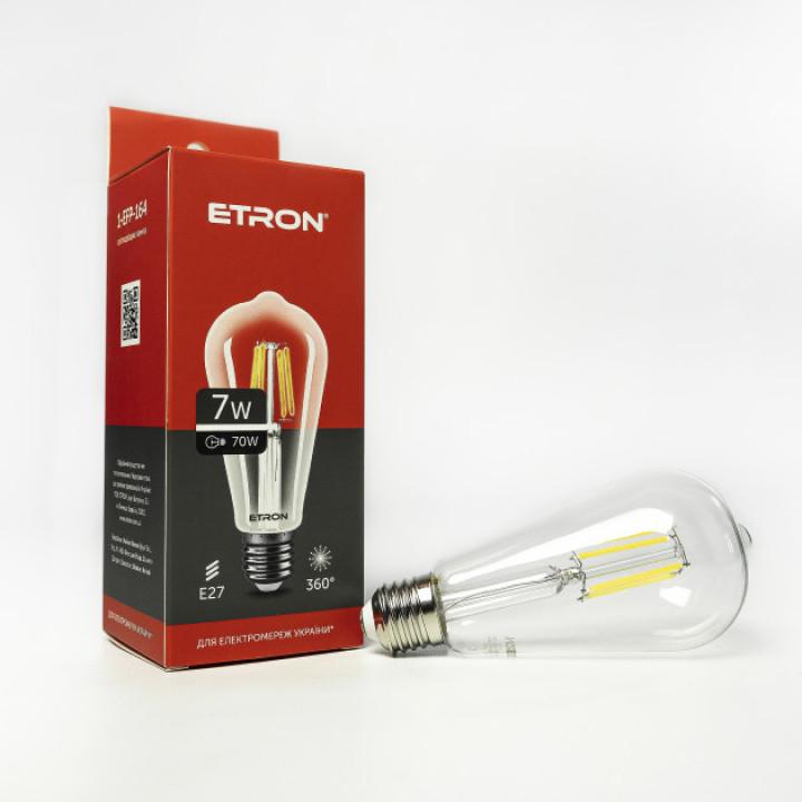 Лампа світлодіодна Etron 164-EFP Filament ST64 7W 4200K E27 ПРОЗОРЕ СКЛО