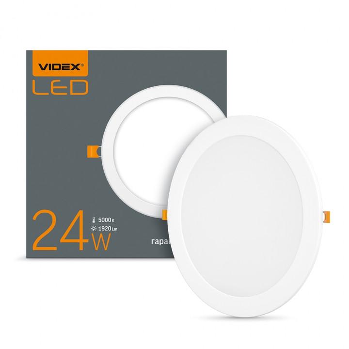 Світильник світлодіодний врізний Videx 24W круг 1920Lm 5000K  (296661)