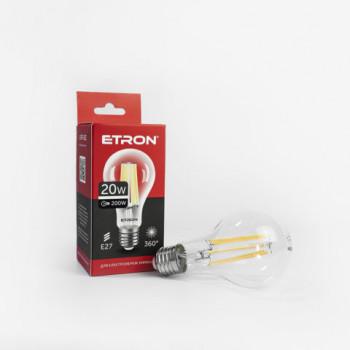 Лампа світлодіодна Etron Filament POWER 1-EFP-102 A65 20W 4200K E27 прозоре скло