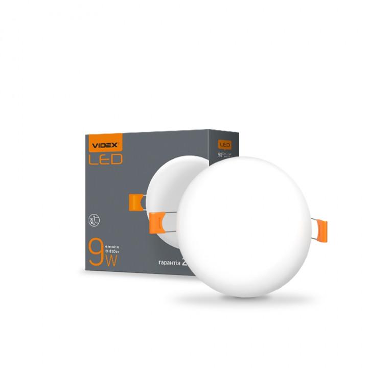 Світильник безрамковий  Videx VL-DLFR-094 9W 4100К d-90мм 870Lm, круг  (298214)