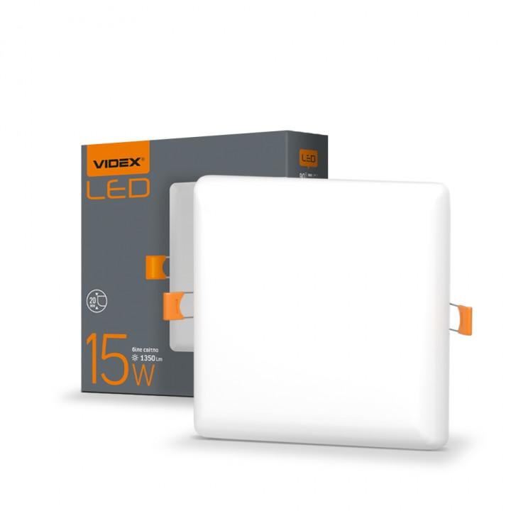 Світильник безрамковий  Videx VL-DLFS-154 15W 4100К 120x120мм 1350Lm квадрат, (298153)