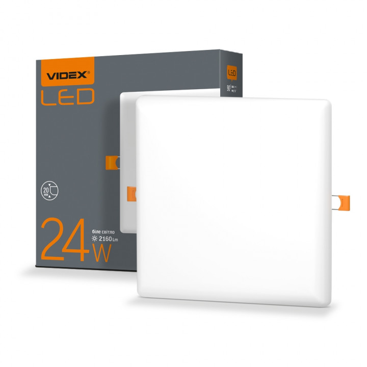 Світильник безрамковий  Videx VL-DLFS-244 24W 4100К 175x175мм 2160Lm квадрат, 298160