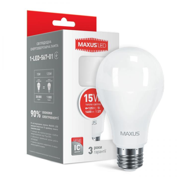 Лампа світлодіодна Maxus A70 15W 3000K 220V E27 1-LED-567