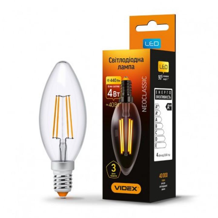Лампа світлодіодна Videx C37F 4W 4100K 220V E14