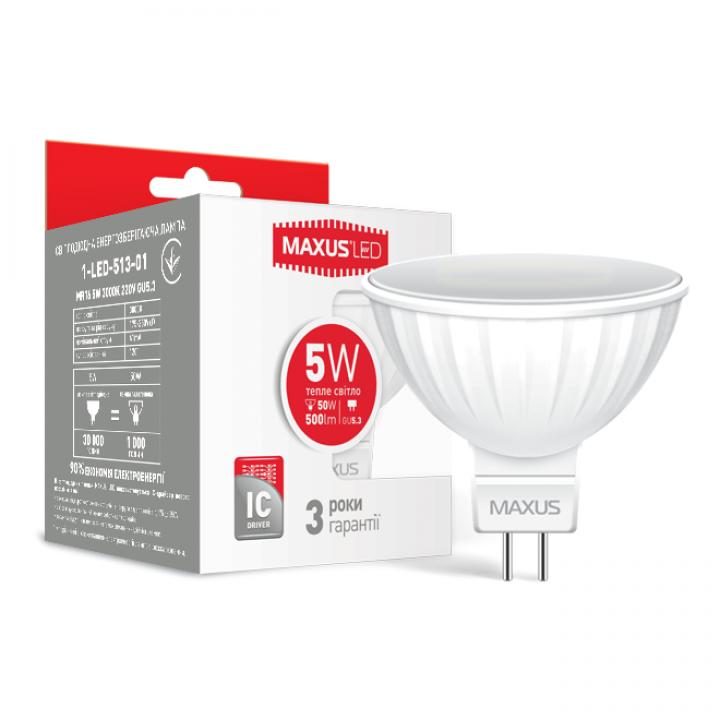 Лампа світлодіодна Maxus MR16 5W 3000K 220V GU5.3  1-LED-513/713