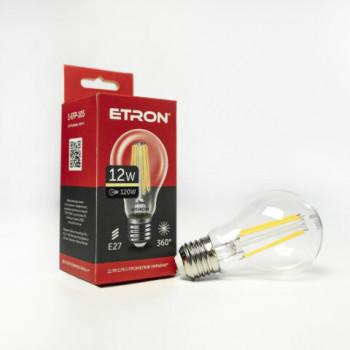 Лампа світлодіодна Etron 105-EFP Filament A60 12W 3000K E27 прозоре скло